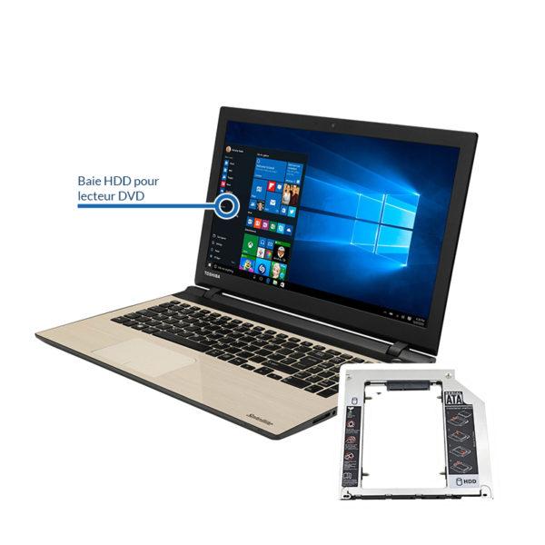 bay toshiba 600x600 - Remplacement du lecteur DVD par un disque dur HDD ou SSD